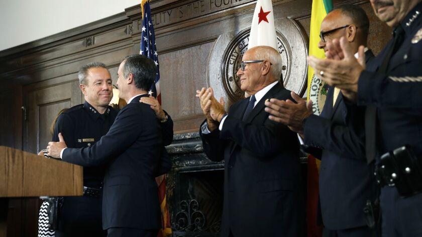 LOS ANGELES-CA-JUNE 4, 2018: Mayor Eric Garcetti announces Michel Moore, far left, as his selection