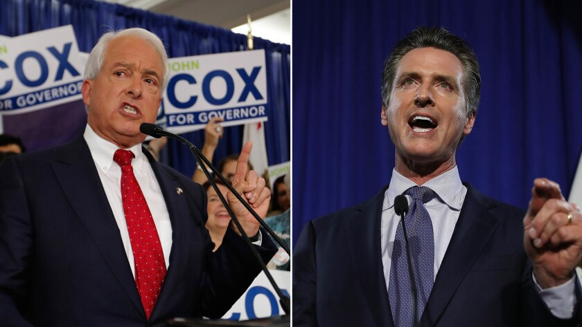 Republican gubernatorial candidate John Cox, left, addresses supporters at his primary election-night party in San Diego. At right, Democratic candidate Gavin Newsom speaks at his election-night gathering in San Francisco.