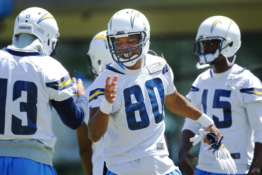 Chargers receiver Malcom Floyd (80) greets Keenan Allen during practice.