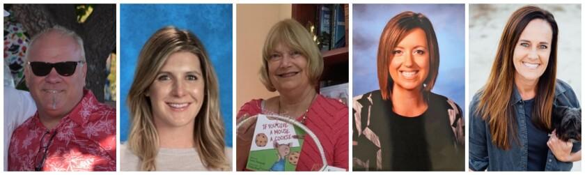 La Jolla Cluster schools' Teachers of the Year: Stacey Allen, Stephanie Marsala, Cathy Wallace, Jamie White, Kim Williams.