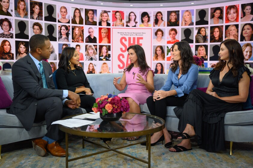 """""""Today"""" anchors Craig Melville and Sheinelle Jones interview New York Times reporters Jodi Kantor and Megan Twohey and actress Ashley Judd."""