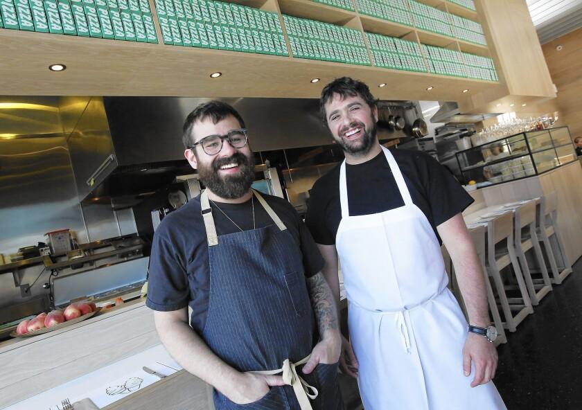 Jon & Vinny's chefs Vinny Dotolo, left, and Jon Shook, at their Fairfax restaurant.