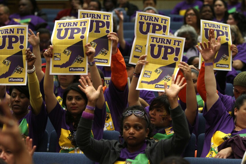 Boisterous Los Angeles County employees filled the Hall of Administration Tuesday to demand pay raises from the Board of Supervisors.