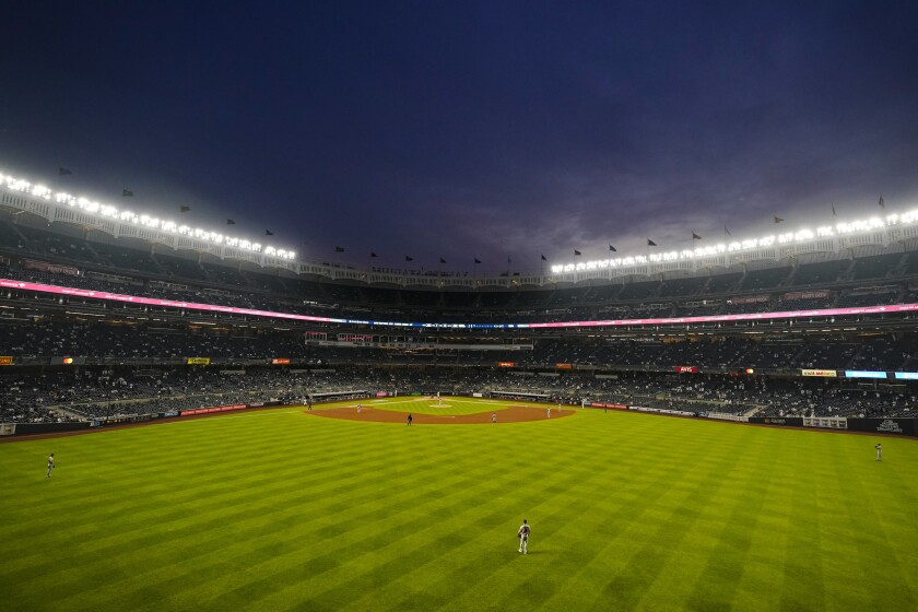 The Houston Astros play the New York Yankees during the third inning of a baseball game Tuesday, May 4, 2021, in New York. (AP Photo/Frank Franklin II)