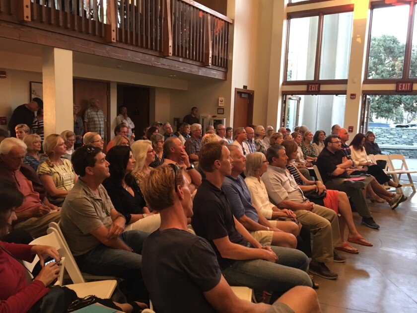About 125 people packed Powerhouse Community Center on Oct. 20 to hear the six council candidates share their opinions on a variety of issues facing Del Mar.