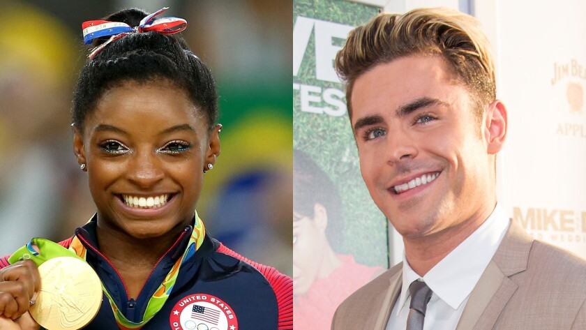 Olympic gold medalist Simone Biles, left, and actor Zac Efron.