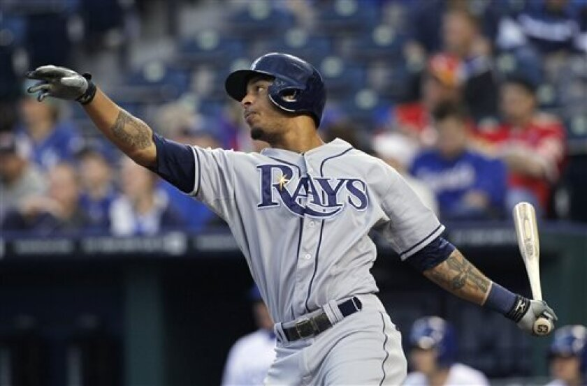Tampa Bay Rays' Desmond Jennings watches his RBI sacrifice fly during the third inning of a baseball game against the Kansas City Royals at Kauffman Stadium in Kansas City, Mo., Wednesday, May 1, 2013. (AP Photo/Colin E. Braley)