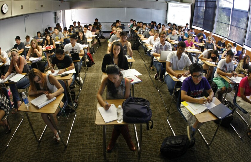 Students fill every desk in an Accounting 101 classroom at Orange Coast College in Costa Mesa