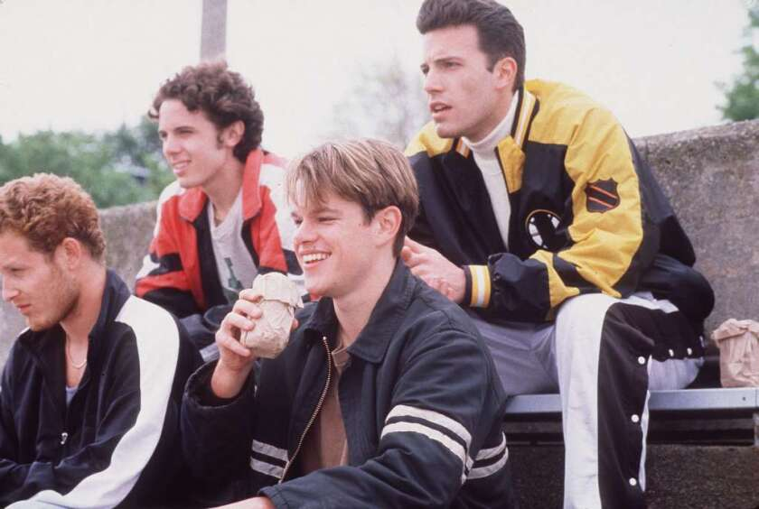 """From left to right, Cole Hauser, Casey Affleck, Matt Damon and Ben Affleck in Gus Van Sant's """"Good Will Hunting."""""""