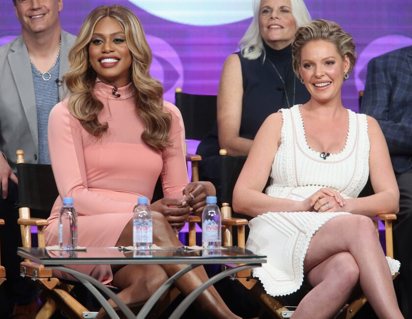 """Actors Laverne Cox and Katherine Heigl speak onstage at the """"Doubt"""" panel discussion during the CBS portion of the 2016 Television Critics Assn. tour."""