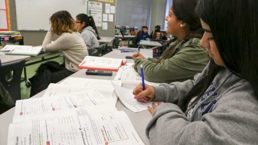 Students work in a credit recovery course at Garfield High School in Los Angeles in 2016.