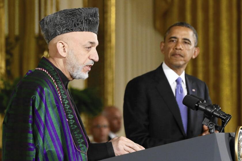 Afghan President Hamid Karzai and President Obama
