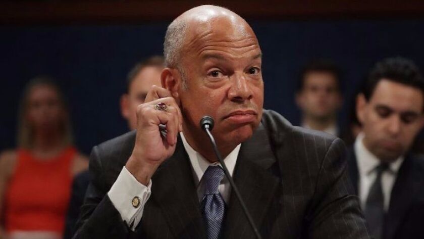 Former Homeland Security Secretary Jeh Johnson testifies before the House Intelligence Committee on Wednesday.