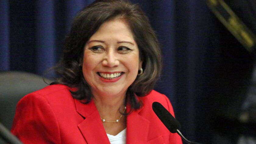 """L.A. County Supervisor Hilda Solis, seen in 2015, co-authored a motion approved Tuesday to change Columbus Day to Indigenous Peoples Day. The motion """"is not about erasing history,"""" Solis said."""
