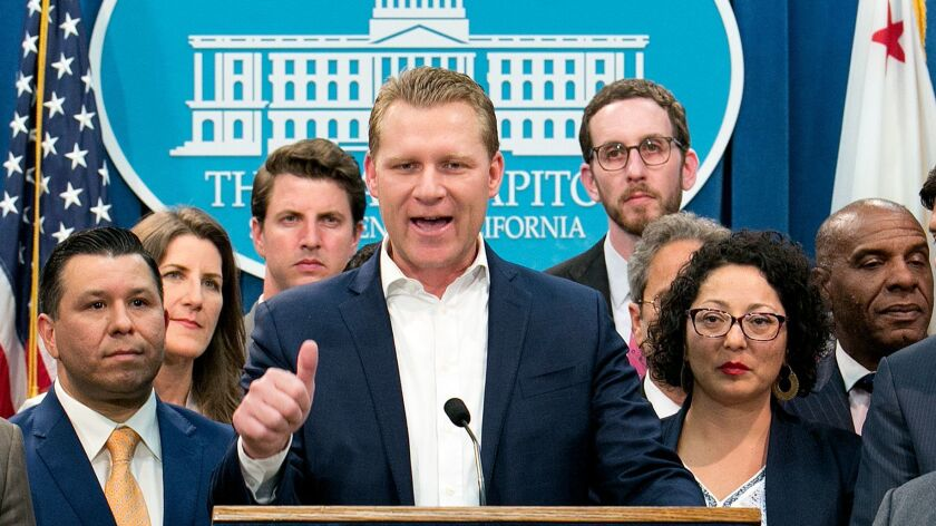 Assembly Republican Leader Chad Mayes discusses the cap-and-trade bill in Sacramento on July 17.