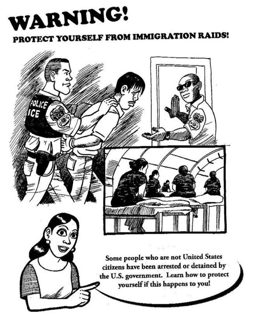 The first page of the immigrant-rights guide produced by CASA de Maryland.