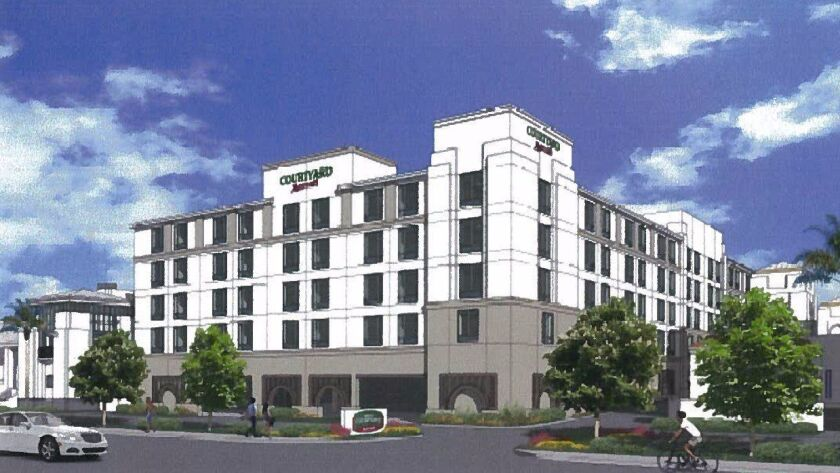An earlier artistic rendering of what a new Marriott Courtyard near the corner of W. Valley Parkway and Escondido Boulevard would look like. Plans have changed somewhat.