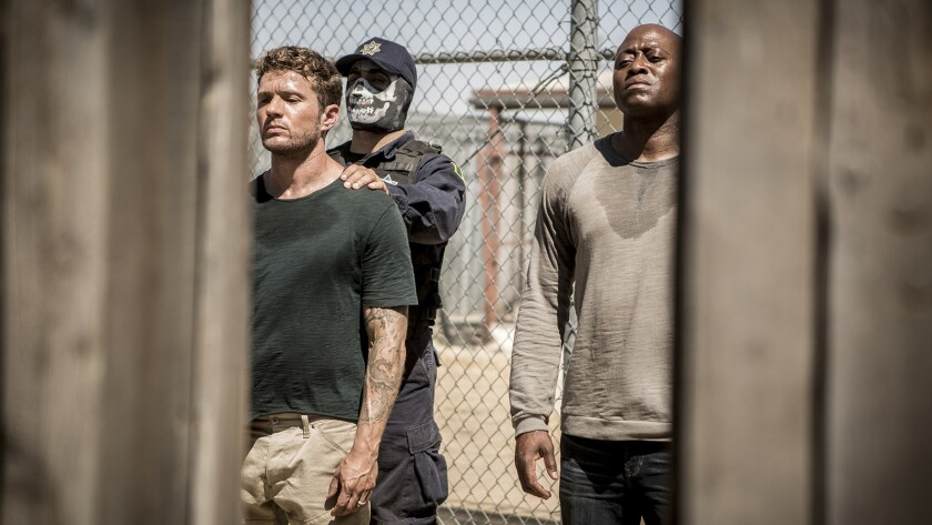"Bob Lee and Isaac (Ryan Phillippe, left, and Omar Epps) are being held in a Mexican prison in a new episode of ""Shooter"" on USA."