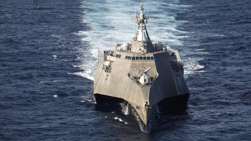 The Littoral Combat Ship USS Coronado. A sailor on board the vessel, in port at Naval Base San Diego, tested positive for COVID-19 on Tuesday.