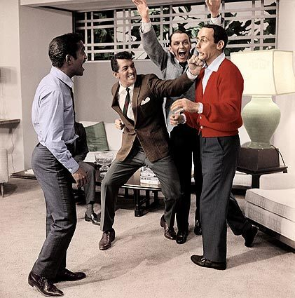 """""""Clowning around on the set of Ocean's 11, 1960."""" Photo from the book """"The Rat Pack"""" by Reel Art Press. Sammy Davis Jr., left, Dean Martin, Frank Sinatra and Joey Bishop."""
