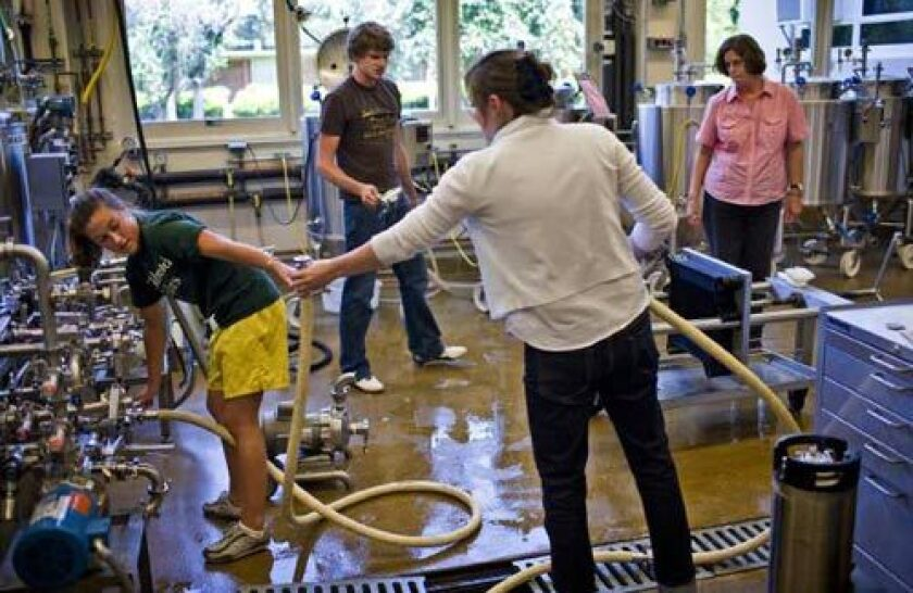 Students Kate Ayers, left, Max Scott and Ellen Beiting help UC Davis brewery manager Candy Wallin.