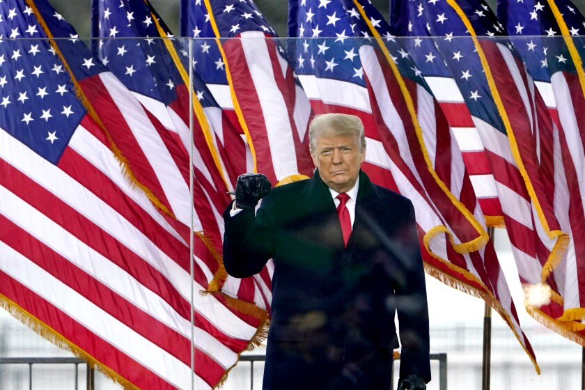 President Trump in front of American flags