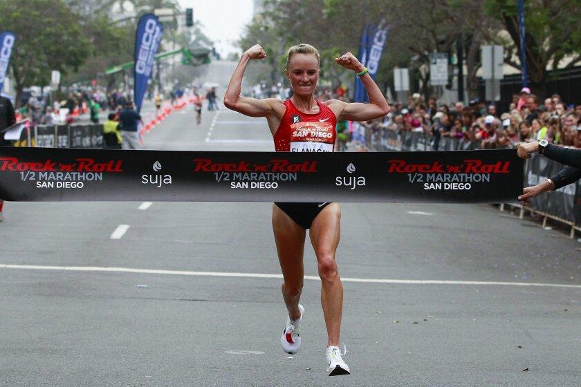 Shalene Flanagan finishing the San Diego Rock'n'Roll Half Marathon (/ Nelvin C. Cepeda / San Diego Union-Tribune)