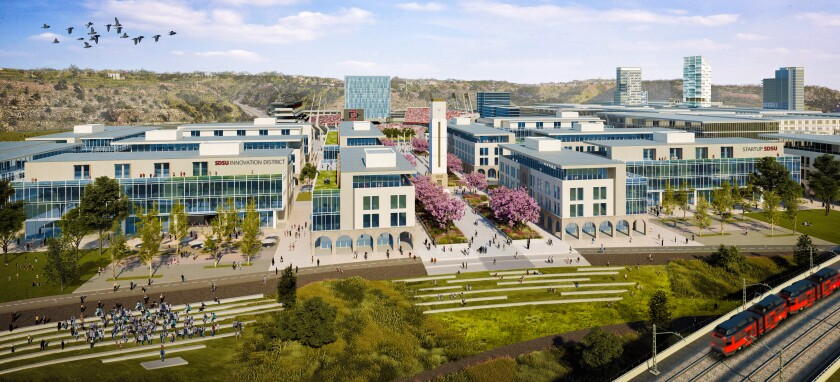 A rendering of the planned innovation district at SDSU's Mission Valley campus.