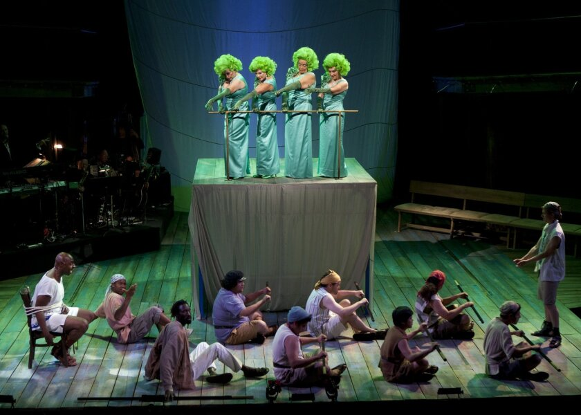 """The Sirens do their best to tempt Odysseus (Alvin Crawford, far left) and his men in the Old Globe musical """"Odyssey."""""""
