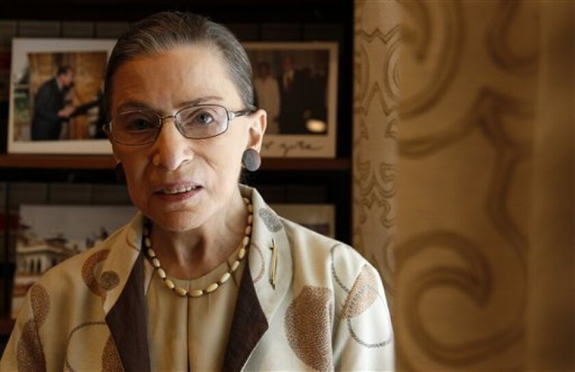 Supreme Court Justice Ruth Bader Ginsburg is photographed in her chambers in Washington