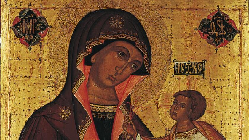 "A closeup of ""Our Lady of Jerusalem"""