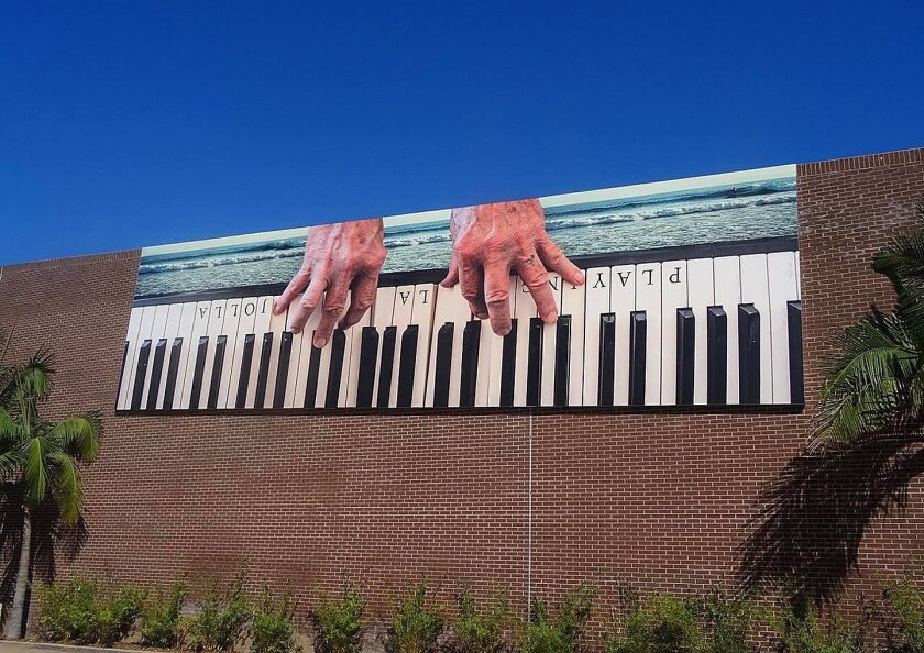 Artist and outlaw country crooner Terry Allen's 'Playing La Jolla (for all it's worth)' was installed mid-September 2015 at 7611 Fay Ave., La Jolla, as part of the ongoing Murals of La Jolla public-art series.