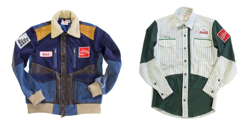 A jacket, left, and shirt from the 200-piece Coca-Cola by DRx capsule collection made using uniforms, delivery jackets and other vintage Coke apparel.