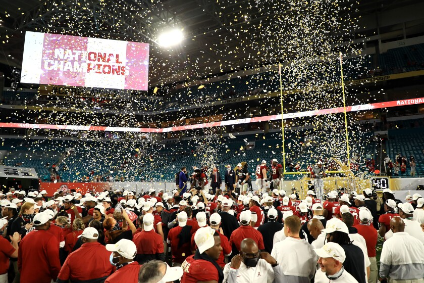 Alabama celebrates after winning the College Football Playoff National Championship game on Jan. 11 in Miami Gardens, Fla.