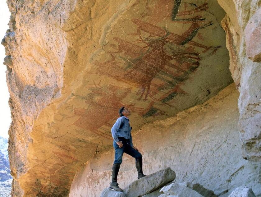 Harry Crosby at El Batequi cave during his exploration in the Sierra de San Francisco region of Baja California.