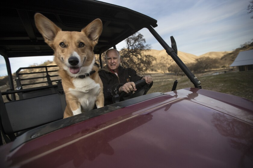 California Gov. Jerry Brown and his corgi, Colusa, ride in an all-terrain vehicle on his Northern California ranch in Colusa County.