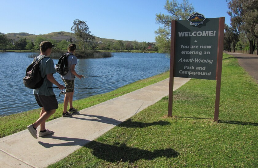 Kids head toward the entrance of Santee Lakes, which will undergo just over $8 million in upgrades.