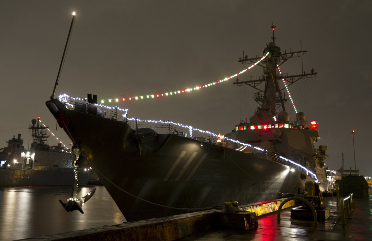Ships decorated for the holidays