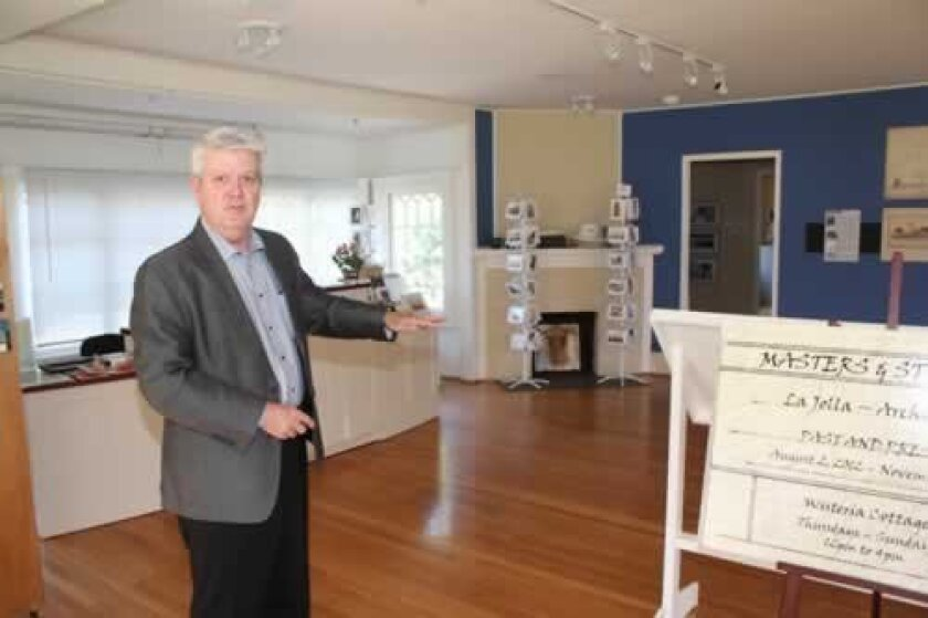 Heath Fox provides a tour of Wisteria cottage, which the society uses as a museum and exhibit space. The building, designed by architect Irving Gill, will undergo a historic restoration next year that is expected to cost just shy of $600,000