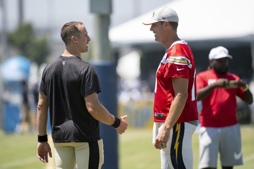 reputable site 4b07a 64233 Column: Philip Rivers, Drew Brees get in their hits during ...
