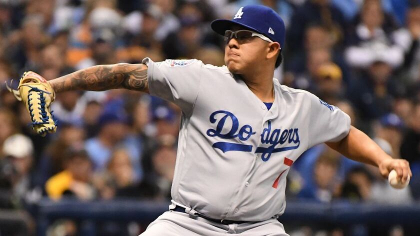 MILWAUKEE, WISCONSIN, FRIDAY, OCTOBER 19, 2018 Dodger pitcher Julio Urias pitches n the fourth inni