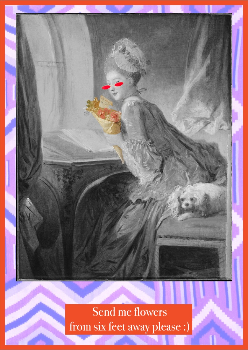 """Photo collage featuring Jean Honoré Fragonard's """"The Love Letter"""""""