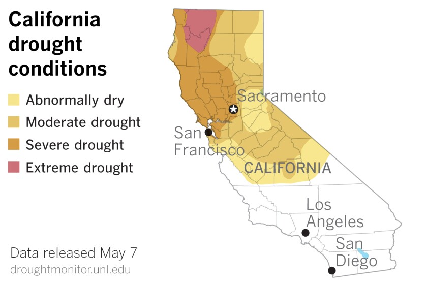 Map showing Northern California in drought