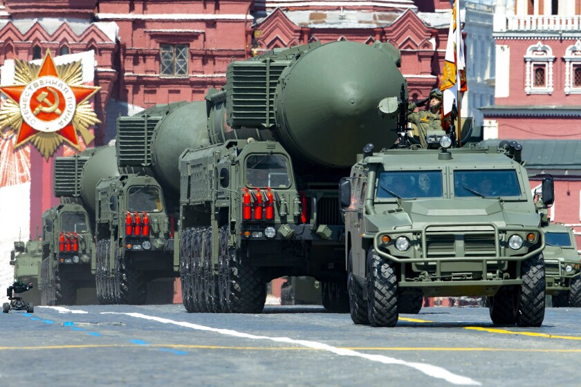 Russian RS-24 Yars ballistic missiles roll in Moscow's Red Square during the Victory Day military parade in June.