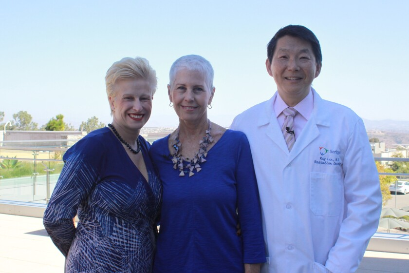 Janet Chelberg-Burgess pictured with her doctors Pamela Kurtzhal (left) and Ray Lin