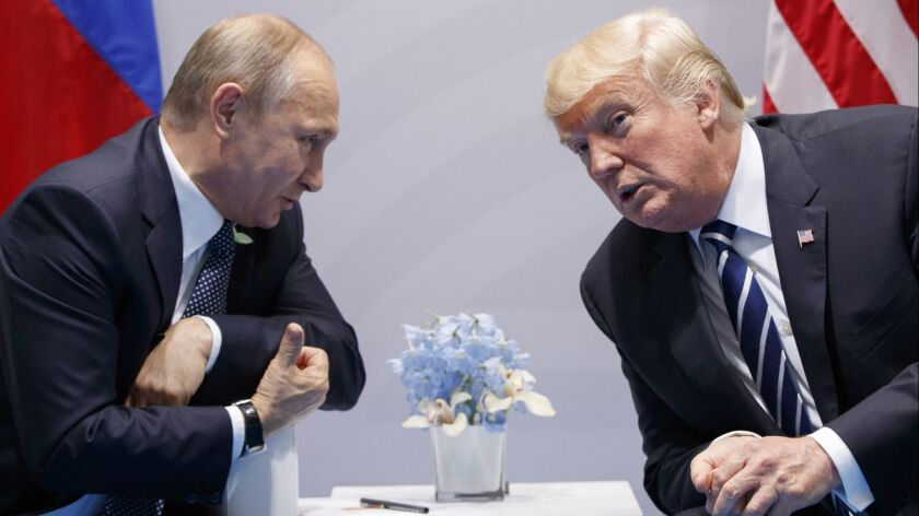 Russian President Vladimir Putin and U.S. President Trump meet at the G-20 Summit in Hamburg, Germany, in 2017.