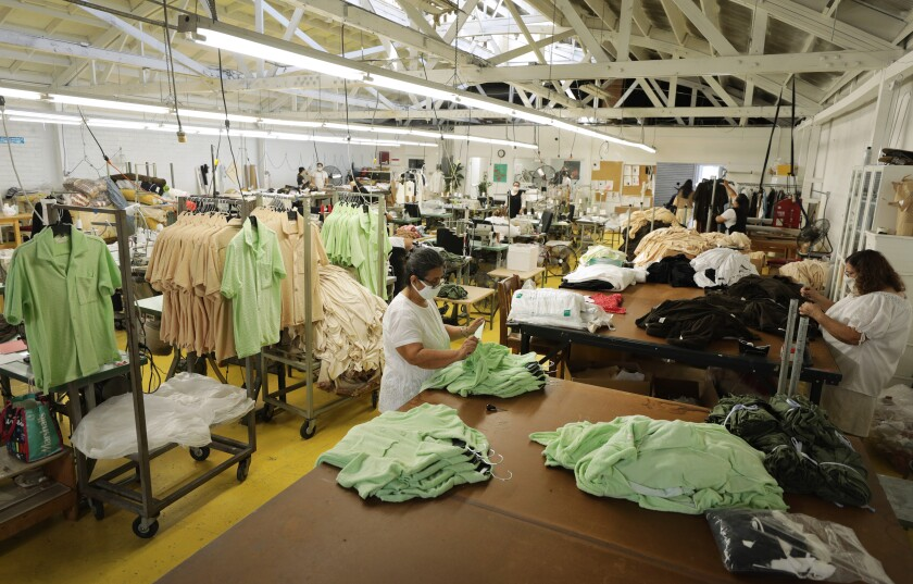 Workers at Nana Atelier, an L.A. clothing maker.