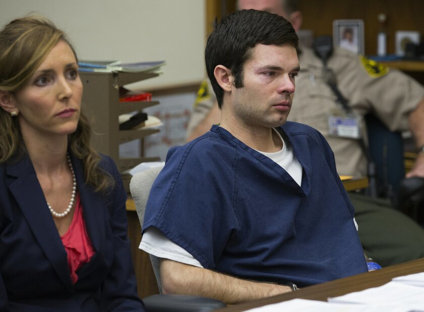 At the Hall of Justice in downtown San Diego, Kevin Bollaert sits with his attorney, deputy public defender Emily Rose-Weber (L), during his sentencing hearing.