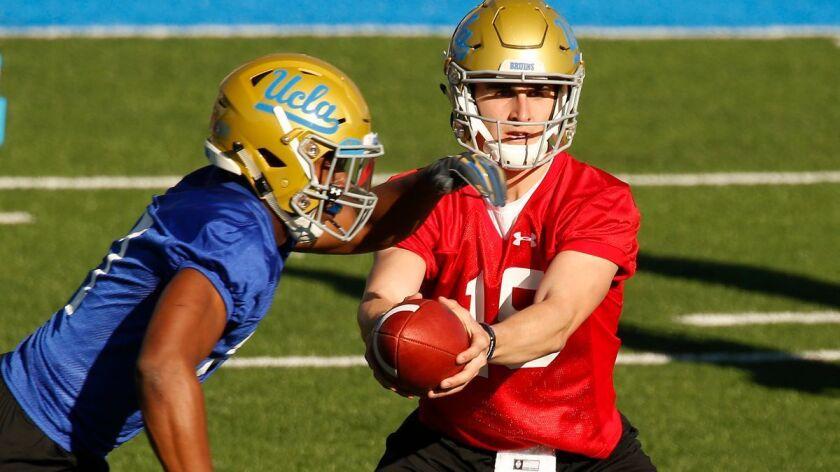 WESTWOOD, CA - MARCH 06, 2018 - UCLA quarterback Matt Lynch #15 works on the Spaulding practice fiel