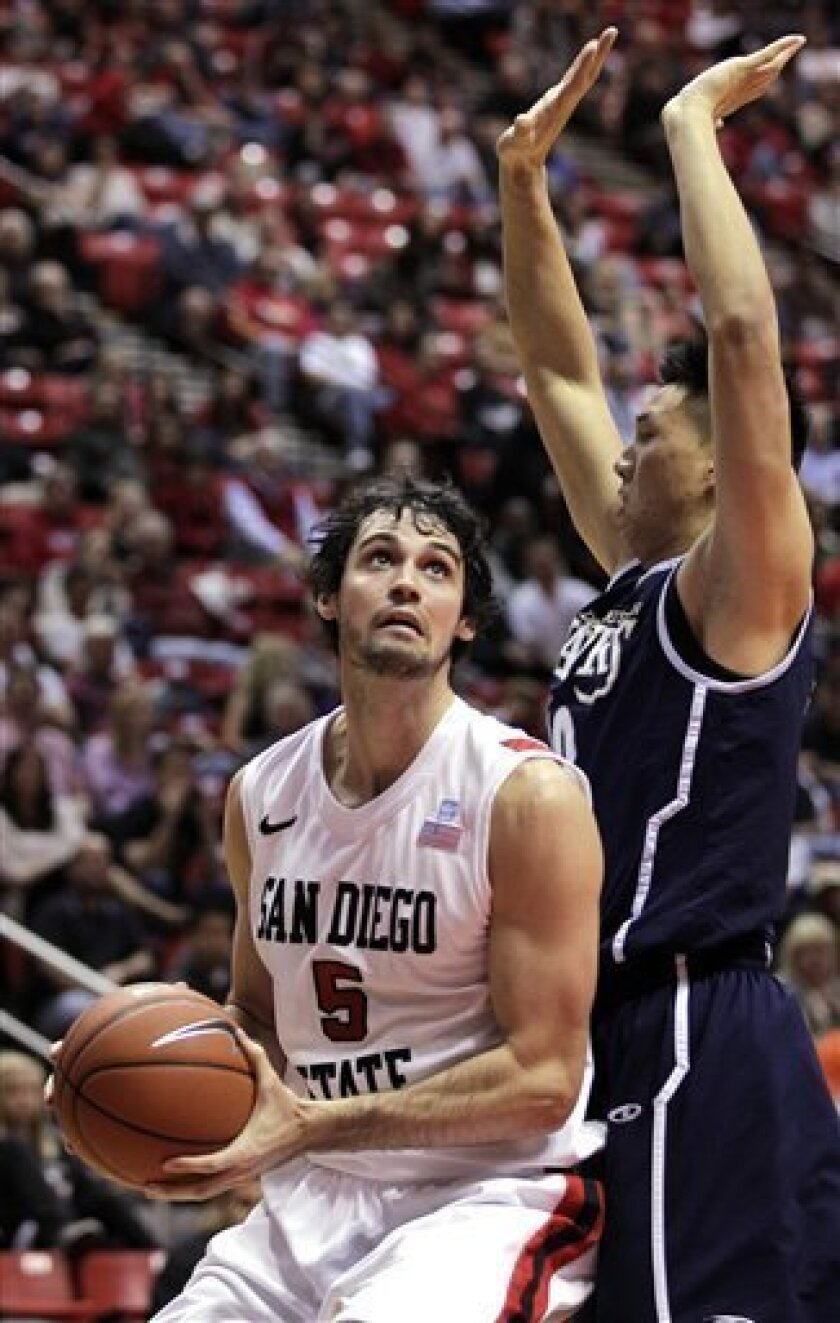 San Diego State's Garrett Green (5) looks to shoot as San Diego Christian's Ben Chung defends in the first half of their NCAA college basketball game, Thursday, Jan. 5, 2012, in San Diego. (AP Photo/Gregory Bull)